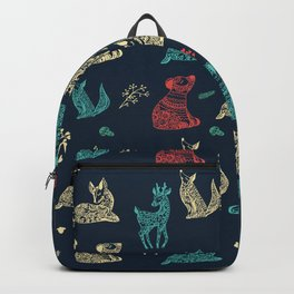 Cute Whimsical Forest Animals Pattern Backpack