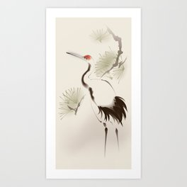 Oriental Red-Crowned Crane 002 Art Print