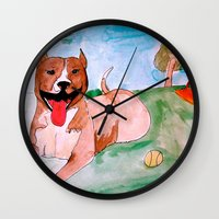 pit bull Wall Clocks featuring Pit Bull by Caballos of Colour