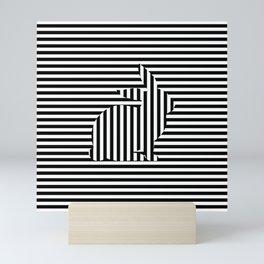Rabbit on Stripes Mini Art Print