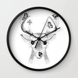 Deer with Butterflies Wall Clock
