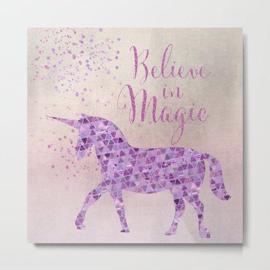 Pink and Purple Glamour Unicorn Believe in Magic Metal Print