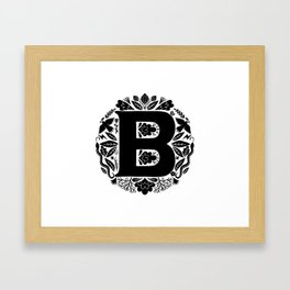 Letter B monogram wildwood Framed Art Print