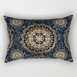Black and White Sparkles & Rose Gold Mandala Textile Rectangular Pillow