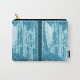 Cactus Garden Outlined Blue Carry-All Pouch