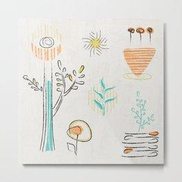 Decorative plants doodle design Metal Print