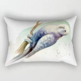 Blue Watercolour Budgie Rectangular Pillow
