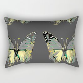 CHARCOAL GREY WESTERN STYLE BUTTERFLIES Rectangular Pillow