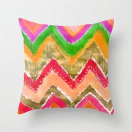 Shocking Pink & Gold Ikat Throw Pillow