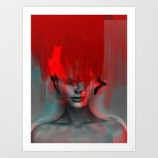 Red Head Woman Art Print