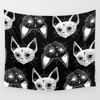 kittens Wall Tapestries featuring Kittens (Black Version) by lOll3