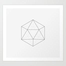 Black & white Icosahedron Art Print