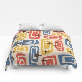 Mid Century Modern Cosmic Galaxies 436 Red Yellow and Blue Comforters