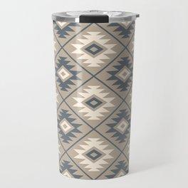 Aztec Symbol Stylized Pattern Blue Cream Sand Travel Mug