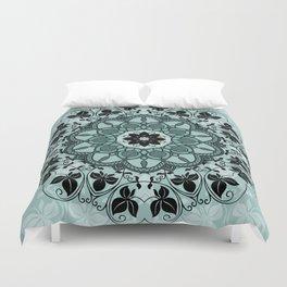 Blue & Black Floral Design Duvet Cover