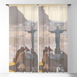 Geometric Christ the Redeemer, Brazil Sheer Curtain