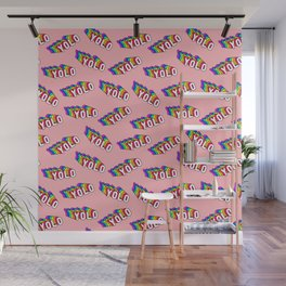 "Patches with rainbow words ""YOLO"" (you only live once) Wall Mural"