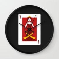 berserk Wall Clocks featuring Queen of Diamonds - Berseker queen by Thirdway Industries Shop