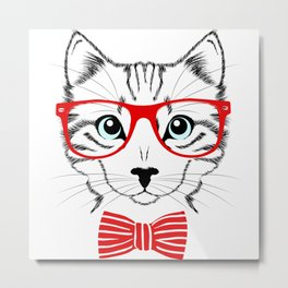 Hipster Cat with Red Glasses Metal Print