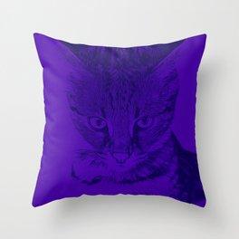 savannah cat portrait vabp Throw Pillow