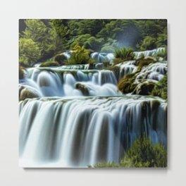 Krka Waterfall Landscape No. 2, Croatia Metal Print