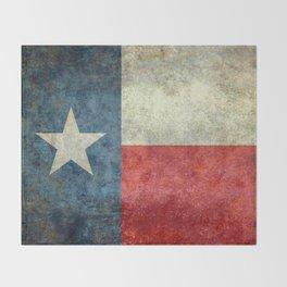 Texas flag, Retro distressed texture Throw Blanket