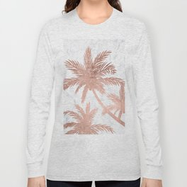 Tropical simple rose gold palm trees white marble Long Sleeve T-shirt