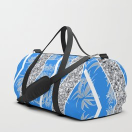 Blue and Silver Baroque Inspired Textile Duffle Bag