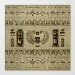 Egyptian Scarab Beetle Ornament Canvas Print