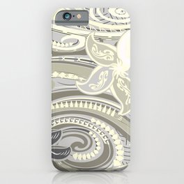 Polynesian Tribal Butter Yellow Threads iPhone Case