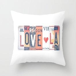 LOVE LA License Plate Art Throw Pillow