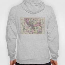 Vintage Map of Montana, Wyoming and Idaho (1884) Hoody
