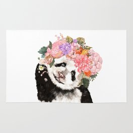 Baby Panda with Flowers Crown Rug
