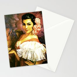 Jesus Helguera Painting of a Mexican Calendar Girl with Fan Stationery Cards