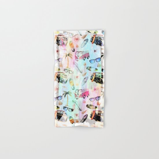 Beach time- summer watercolor pattern  Hand & Bath Towel