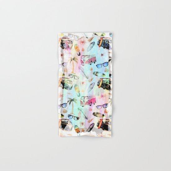 Beach time- summer watercolor pattern  Hand & Bath Towel