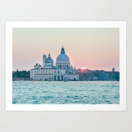 The Salute at Sunset in Venice Fine Art Print Art Print