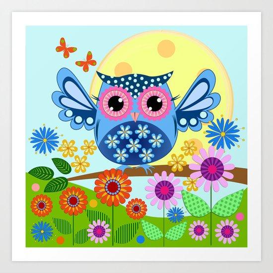 Spring owl in a Flower garden Art Print
