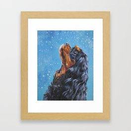 Beautiful black and tan Cavalier King Charles Spaniel Fine Art Dog Painting by L.A.Shepard Framed Art Print