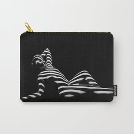 0381-PDJ Zebra Striped Black White Nude Reclining Carry-All Pouch