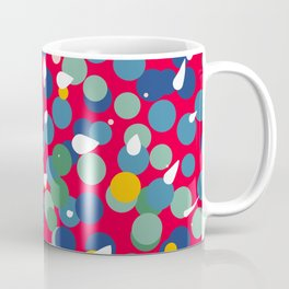 Dots and Bubbles Abstract Pattern on red Coffee Mug