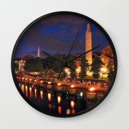 War Memorial Park Waterfire - Providence, Rhode Island Wall Clock