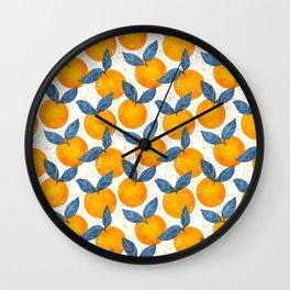Cyprus Oranges - Blue and Orange Wall Clock
