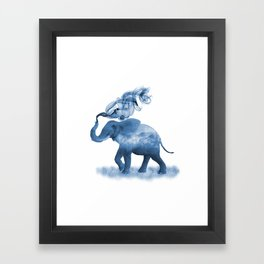 Blue Smoky Clouded Elephant Framed Art Print