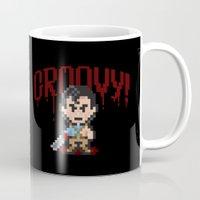 evil dead Mugs featuring Evil Dead Pixels by Jango Snow