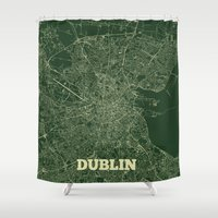 dublin Shower Curtains featuring Dublin Street Map by CartoPosters Maps