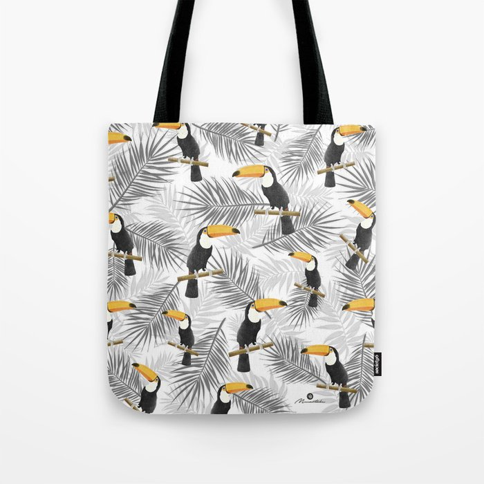 Toucan with palm leaves Tote Bag