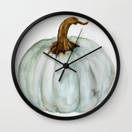 Blue-Gray Cinderella Pumpkin - Watercolor  Wall Clock