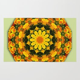 Floral mandala-style, California Poppies Rug