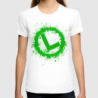 luigi T-shirts featuring Luigi Splat by Donkey Inferno